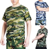 camouflage wholesale - New Arrivals Men s Classic T Shirt Round Neck Short Sleeved Tee Military Camo Camouflage Quick Dry Design M XXXL Colors EE27