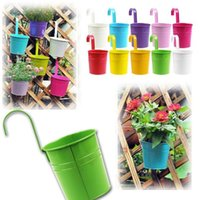 Wholesale 9 Colors Metal Iron Hanging Flower Pot Hanging Balcony Garden Be Used With colorful flowers Herbs Or Plants E498E