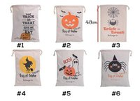 Wholesale 2016 halloween tote Christmas Large Canvas Monogrammable Santa Claus Drawstring Bag With Reindeers Monogramable Christmas Gifts Sack Bags