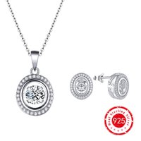 Wholesale Dancing Diamond Round Shape Sterling Silver Earrings Stud Pendant Necklaces Fashion Jewelry CZ Women Birthday Gift DE16410G DP81710G