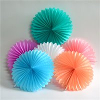 decorative fans - 2016 Wedding Flowers Accessorie Mix Size Paper Fans Flowers Colorful Fans for Christmas Wedding Party Birthday Decoration Supplies