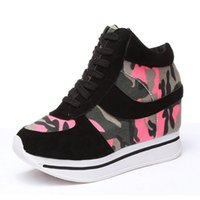 Tangle Femmes Formal Wedge Caché Talon Haut Slim Fit Mode Cuir PU Chaussure Plateforme Sneaker Chaussures