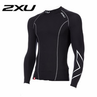 Wholesale XU Men Compression Running Long Sleeve O Neck Sports Tight T Shirts Fast Drying Fitness GYM Base Layer Tops S XXXL New Arrival