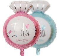 Wholesale Large Decoration Wedding Rings - Blue Pink 18'' Diamond Ring Foil Balloon Wedding Aluminum Large Balloons For Wedding Party Decoration Mix Color 50PCS LOT
