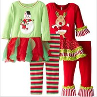 autumn tree tops - Kids Christmas Clothing Sets Xmas Pajamas Sets Elk Christmas Tree Tops Ruffle Pants Snowman Santa Claus Outfits Sleepsuit Nightwear B1291