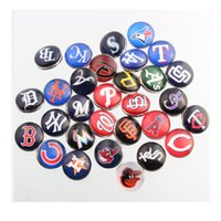 Wholesale Fashion Mix Baseball Team Snap Button Glass Sports mm Snap Jewelry For Ginger Snap Bracelets Necklaces