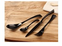 Wholesale 24PCS black western food dinnerware set top quality stainless steel Dinner knife and fork and spoon teaspoon cutlery set