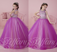 Wholesale 2016 Sparkly Purple Princess Tulle Ball Gown Pageant Dresses for Teens Floor Length Kids Prom Dresses with Beading Rhinestone