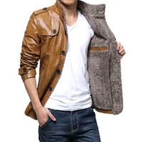 Wholesale Fashion Men s Warm Winter Jacket Leather Coat Fur Parka Fleece Jacket Slim Coat MC059