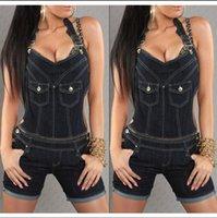 Wholesale Hot Sale Summer Women Demin Shorts Fashion Women Jumpsuits Halter Neck Backless Shorts Fashion Jumpsuits