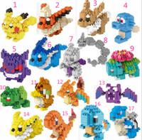 Wholesale 17 styles Poke pikachu D puzzle building blocks Diamond blocks Pokémon go intelligence educational toys Birthday gifts with gift box