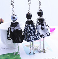 Wholesale Womens New Design Lovely Black Girl Doll Necklace Cloth Bowknot Dress Princess Pendant Chain Long Necklace Jewelry store Gifts