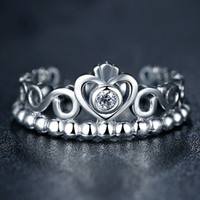 Wholesale Pure Sterling Silver My Princess Queen Crown Stackable Ring with Clear CZ Authentic Jewelry with Pandora Jewelry