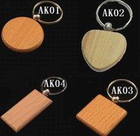 achat en gros de en forme de coeur bois-Clé en bois bricolage porte-clés porte-clés porte-clés Rectangle carving cercle rond Porte-clés carré forme de coeur