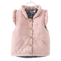 Wholesale Ruffles Kids Vest Sleeveless Cotton Winter Coats Baby Girl Waistcoat Warm Thicken Jacket Pink Red Toddler Children s Clothing
