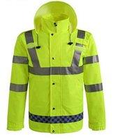 Wholesale Outdoors traffic reflective raincoat waterproof work clothing warning Safety fluorescent raincoats