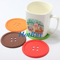 Wholesale Cute Colorful Silicone Button Coaster Cup Mat Drink Placemat Coffee Cup Mug