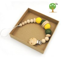 Wholesale Army green and yellow crochet beads Pacifier Clip Holder Neutral color Safe for teething baby Baby shower gift NT160