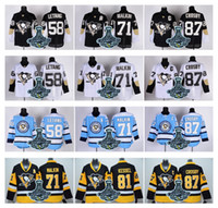 Wholesale Pittsburgh Penguins Sidney Crosby Mens Hockey Jerseys Evgeni Malkin Kris Letang Jersey with Stanley Cup Champion Patch