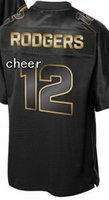 bay pro - 2016 Pro Line Black Gold Collection Football jerseys Green Bay Aaron Rodgers Top Quality Drop Shipping Hot Sale Mix orders