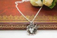 artificial birds nest - antique silver tone artificial bird nest bird nest charm pendant necklace