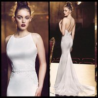 art deco packaging - Sexy Evening Dresses Mermaid Ivory Satin Backless Formally Package Buttoks Fishtail Gowns Formal Prom Party Gowns