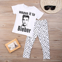 bieber baby - 2016 sets New Children Toddler Baby Girl Boy Clothes Bieber Tops T shirt Pants Outfits Set