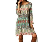 african styles clothing - New Arrival Bohemian Style Loose Casual Dresses Crew Neck Printed Short Summer Beach Party Gowns Arabic African Clothing Gowns FS0404
