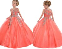 pageant dresses kids - In Stock Coral Little Girls Pageant Dresses Princess Tulle Sheer Jewel Crystal Beading Kids Flower Girls Dress Birthday Gowns