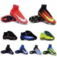Wholesale Kids Mens High Ankle soccer cleats Mercurial Superfly V FG Football shoes cheap soccer shoes Leather cr7 superflys botas de futbol Blue
