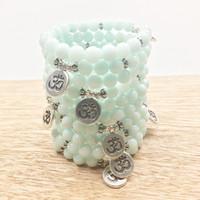 aquamarine powers - SN1030 Fashion Aquamarine Om Bracelet Power Beads Blue Bracelet Fashion Yoga Bracelet Best Gift For Him