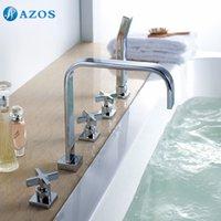 bathtub diverter valve - AZOS Bathtub Faucets Chrome Polished Deck Mount Hot Cold Sprayer Showerheads Handles Diverter Valves YGWJ057