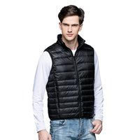Wholesale Fall New Men s Warm Ultralight Down Jackets Vests Men Solid Thin Winter Vest Male Lightweight Coats Outdoors Brand Clothing SA024