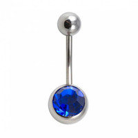 Wholesale 1 mm Mix Colors Gem Belly Button Rings L Steel Curved Barbell Navel Navelpiercing Piercings Ombligo Body Percing BJ791