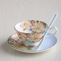 Wholesale Coffee Cup Set European simple bone china coffee cup dish with a spoon