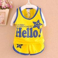 Wholesale 2016 Newborn Baby Clothing Sets Boy girl Cotton Vest Shorts Kids Clothes Sets Cartoon Suit Summ