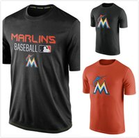 authentic clothing - Miami Marlins Authentic Collection Legend Logo Performance mens short sleeve sports TShirt Black Men s Clothing TShirt Size S XL