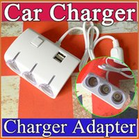 sockets and switches - Dual USB Ports And Three Cigarette Lighter Charger v Car Cigar Lighter Three Socket Car Charger With Switch H CL