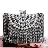 Precio de Señoras monederos moldeado-Venta al por mayor-Tassel Rhinestones Nuevas mujeres bolsos de noche Diamantes rebordeados de la boda de señora Bolsos de metal Pequeño bolso Messenger Bag