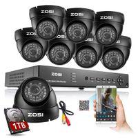 al por mayor sistemas de circuito cerrado de televisión nube-Sistema de vigilancia CCTV de ZOSI 1000TVL 8CH HDMI DVR P2P Nube con sistema de seguridad de cámara 960H Filtro de corte IR 8CH DVR Kit 1TB HDD