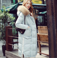 Turtle Neck bamboo m - 4 color Luxury women White Duck Hooded Down Jacket Coat real raccoon fur collar Loose Puffer X long Thick Winter Warm Lady Hooded Down Coat