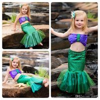 baby swimwear - 2016 Baby Girls Little Mermaid Tails Costume Bikini Swimwear Swimsuit Outfits Dress