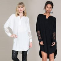 Wholesale 2016 Autumn Women Casual Dress Fashion Lace Dress Shirt Outfit Product Short Irregular Long sleeved V neck Long Blouse