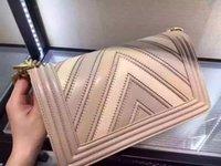 cross stitch thread - 2016 the latest v shaped litchi grain boy stitching cowhide leather handbag fashion chain single shoulder bag