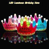 Wholesale Baby Birthday Hats With LED Luminous Light King And Princess Crown Kids Lovely Cosplay Hats For Birthday Party Product Code