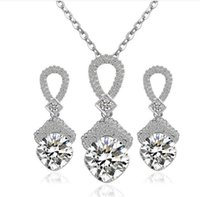 Wholesale Silver Plated Zircon Crystal with Czech drilling Zinc Alloy Wedding Necklace and Earrings Jewelry Sets for Party