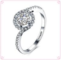 Wholesale 1 CT simulate diamond ring for women Luxury white gold ring engagement ring for women bridal gift for girl