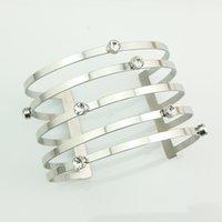 Wholesale 316L Stainless Steel MM CZ Crystals Wide Cuff Bangle Women Bracelets Cuff Swarovski Cuff Bracelets For Ladies