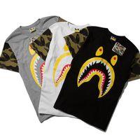 Cheap New Ba pe T Shirt Men Hip Hop Street Bap e Shark T-Shirt Men Camouflage Military WGM Shark T Shirts Brand Yeezus Cotton T-Shirts