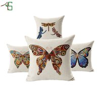 animal print furniture - Colourful Butterfly Cushion Jungle Animal Print Linen Cojines Hot Sale For Sofa Furniture Home Decoration